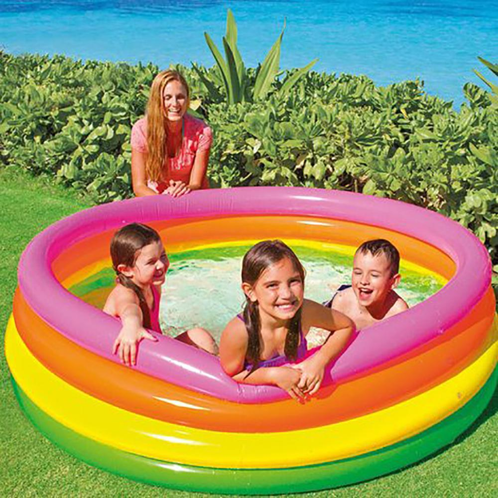 Pool Inflatable 4 Rings Colors 168x46 Cm,780 LTR Intex 56441