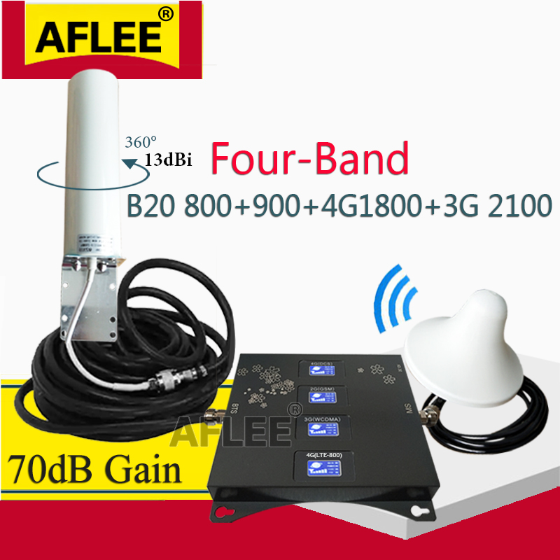 New!! BAND 20 800 900 1800 2100 Mhz Cell Phone Booster Mobile Signal Amplifier 2G 3G 4G LTE Cellular Repeater GSM DCS WCDMA Set