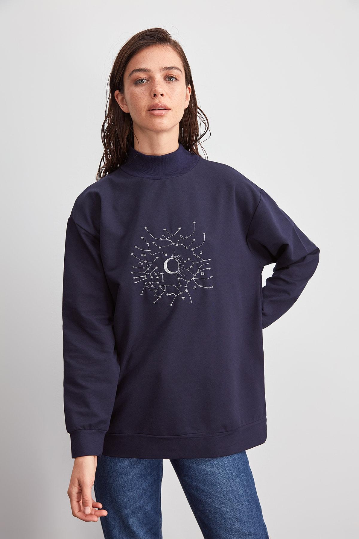 Trendyol Embroidered Boyfriend Knitted Sweatshirt TWOAW20SW0652
