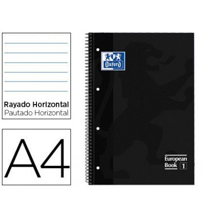 NOTEPAD SPIRAL OXFORD TOP EXTRADURA MICROPERFORATED DIN A4 80 SHEETS HORIZONTAL STRIPED COLOR BLACK