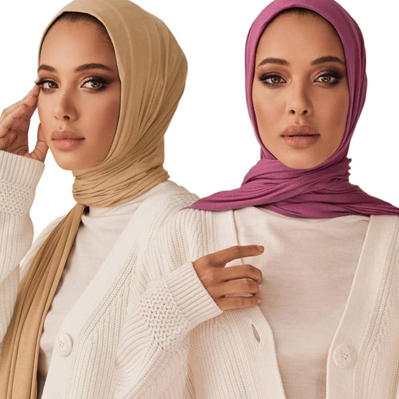 Hot Nice Color High Quality Plain Elastic Jersey Shawls Strechy Head Wraps Islam Scarves Muslim Women Hijab Scarf 10pcs/lot