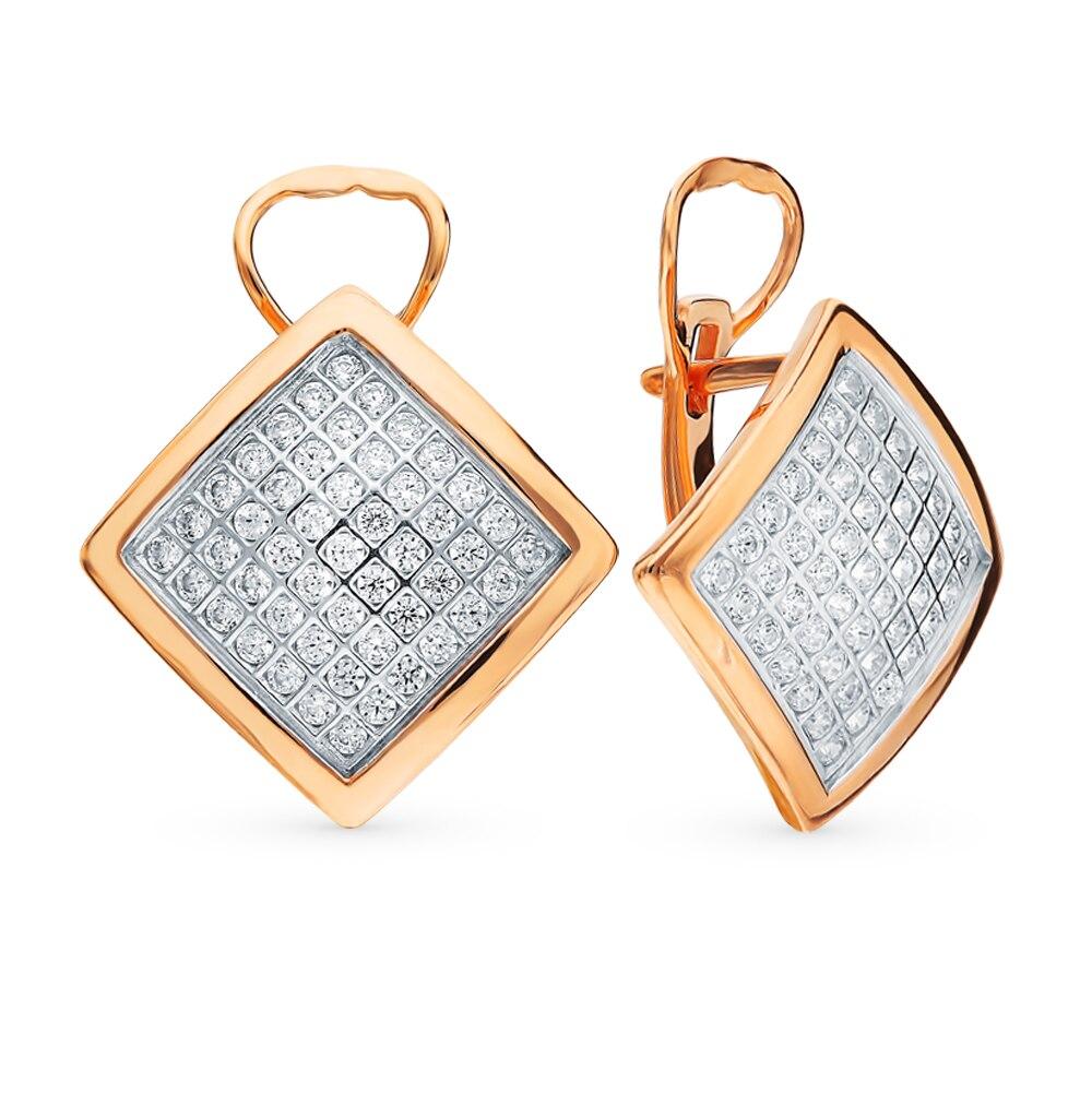 Boucles d'oreilles en argent avec zircon cubique lumière du soleil échantillon 925