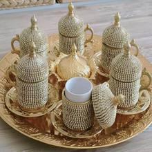 Kahve Fincan Takımı Osmanlı Desen 6 Kişilik Türk Kahve Seti - Sarı Beyaz Taşlı sarı ve beyaz taş türk kahvesi takımı