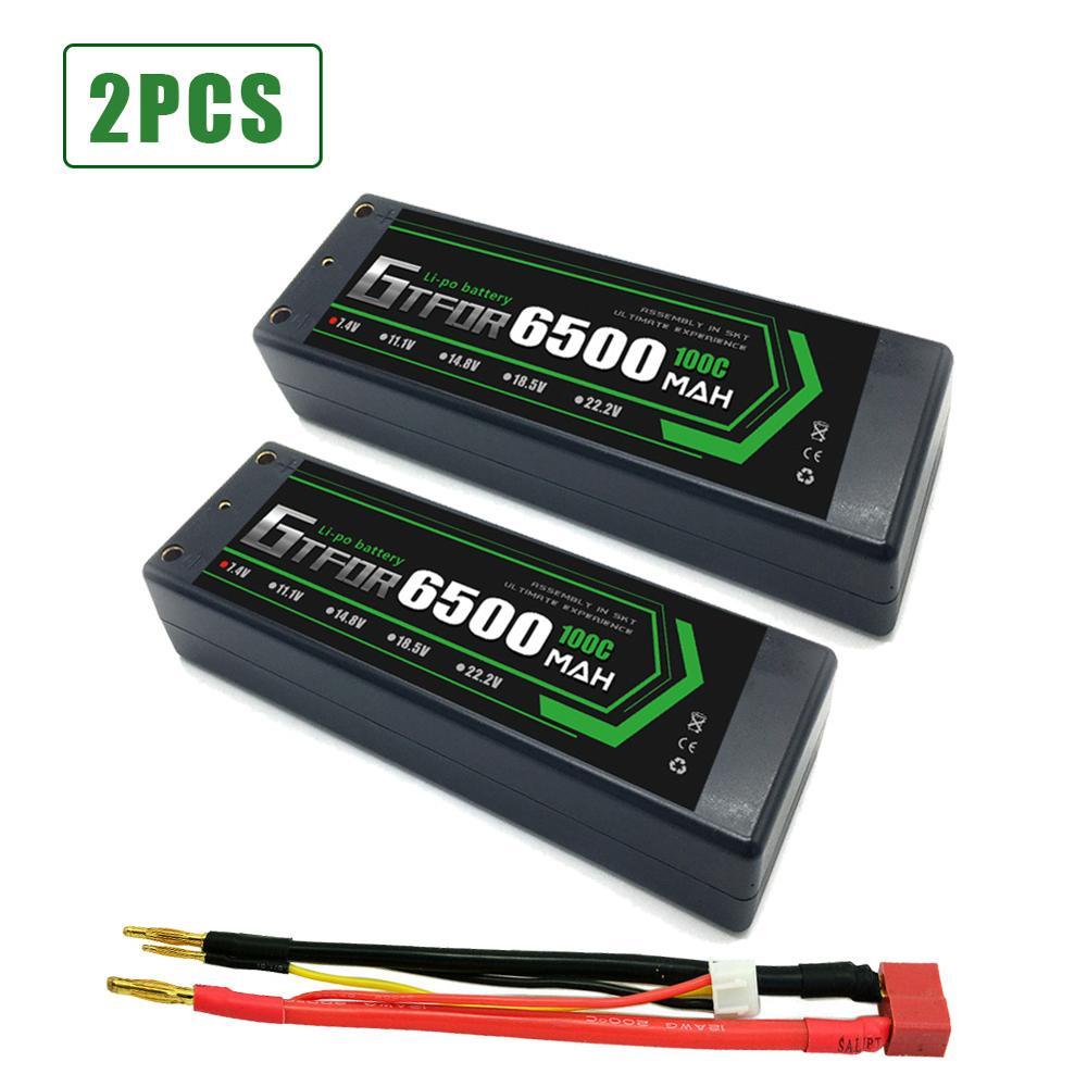 GTFDR 2PCS 2s Lipo Battery 7.4V 100C 6500mAh Hard Case Lipo Batteries Pack With 4mm Bullet  For 1/8 1/10 RC Car Model Trax