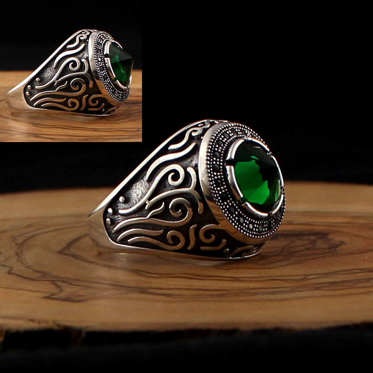 925 Sterling Silver Ring For Men Green Zircon Stone Jewelry Fashion Vintage Gift Onyx Aqeq Mens Rings All Size (made In Turkey)