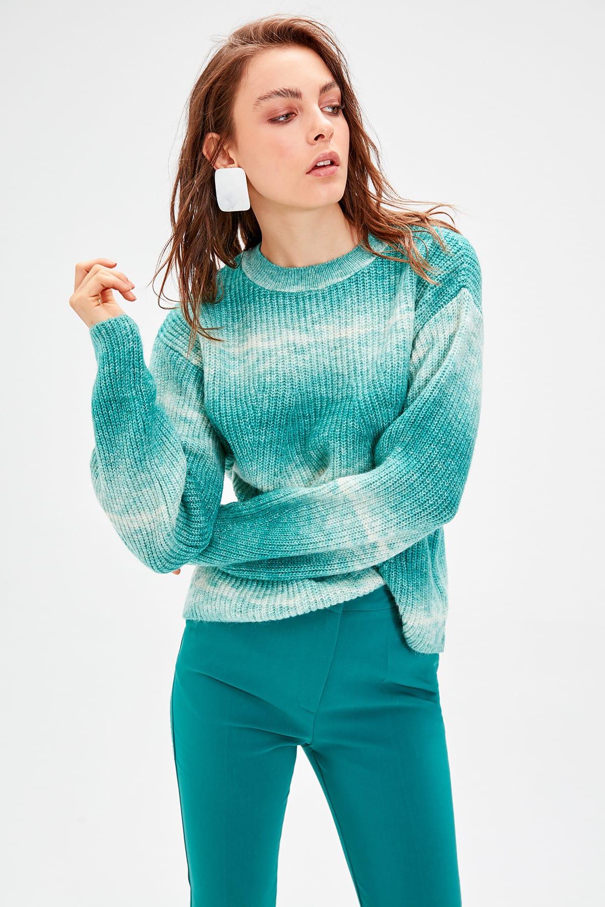 Trendyol WOMEN-Green Gradient Knitwear Sweater TWOAW20NK0033
