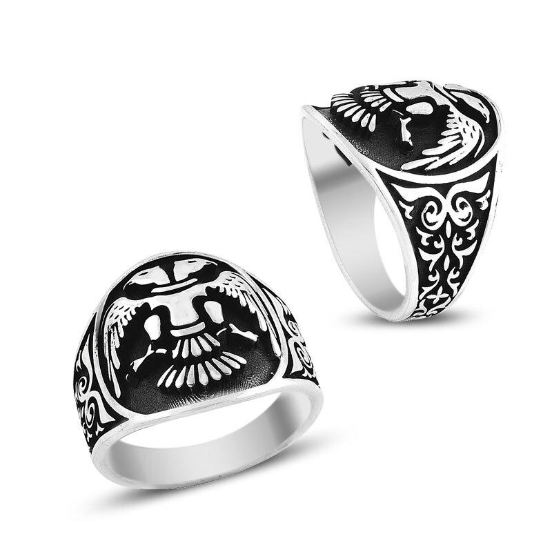 925 Серебряное этническое албенское кольцо с флагом для мужчин