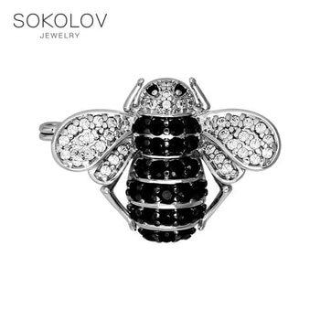 Brooch SOKOLOV midge with cubic silver fashion jewelry 925 women's male