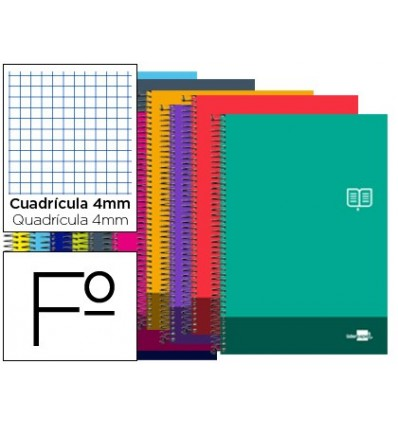 SPIRAL NOTEBOOK LEADERPAPER FOLIO DISCOVER SOFTCOVER 80H 80GSM FRAME 4MM MARGIN ASSORTED COLORS 5 Pcs