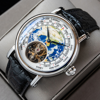 Sugess Earth Art Enamel Dial Seagull ST8000 Movement Genuine Tourbillon watch Luxury Business Watches Mens Watch Father Day Gift 2