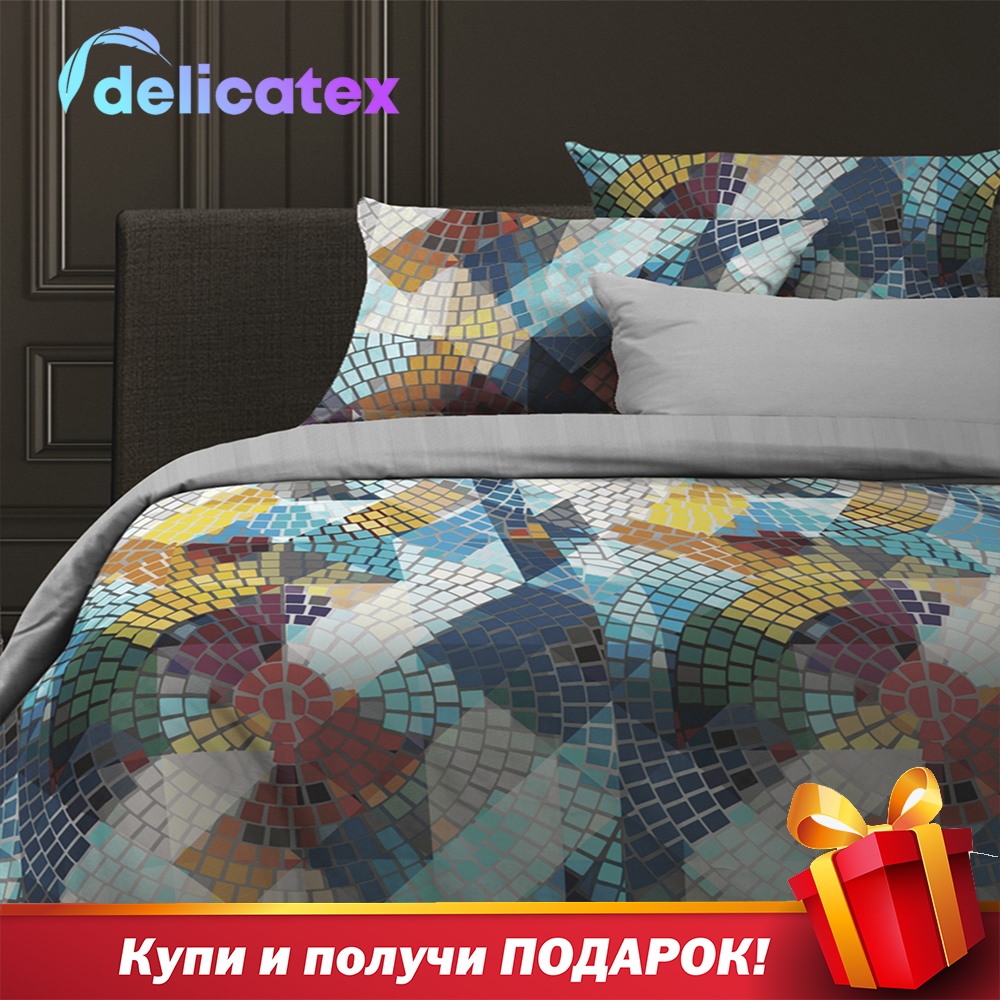 Bedding Set Delicatex 30107-1+24089-4Kaleidoscope Home Textile Bed Sheets Linen Cushion Covers Duvet Cover Рillowcase