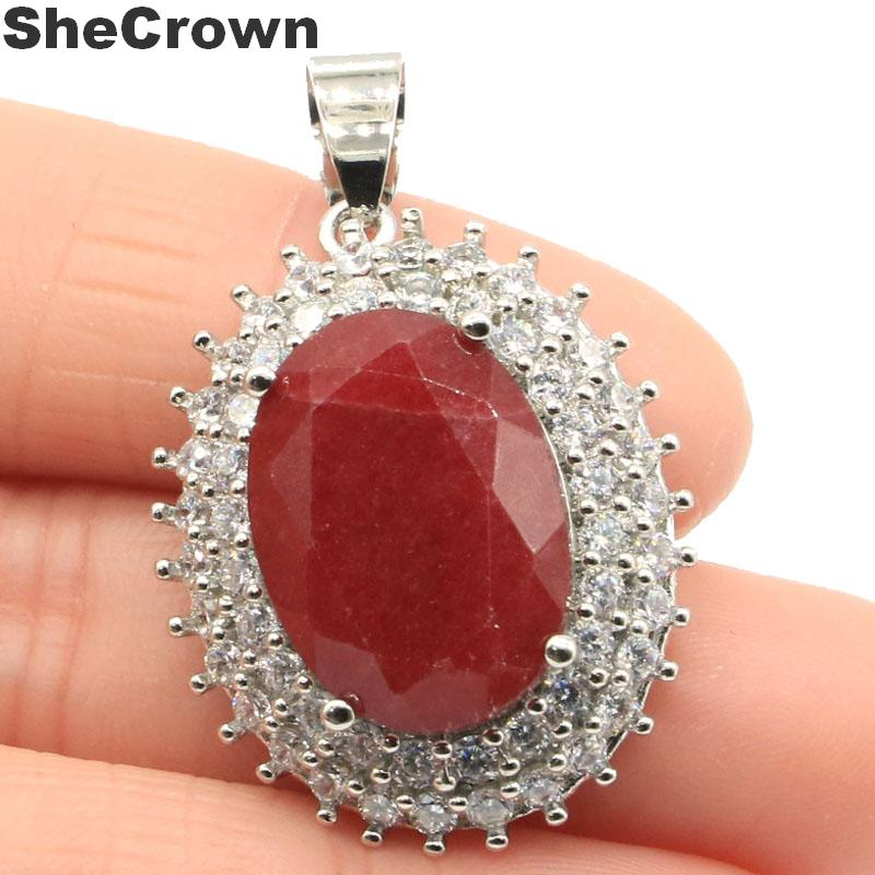 36x23mm Dazzling Oval 18x13mm Real Red Ruby Natural CZ Ladies Wedding Silver Pendant