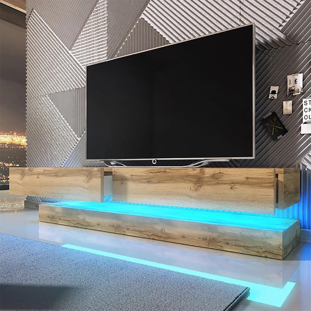 hylia meuble tv suspendu 140 cm chene wotan avec led