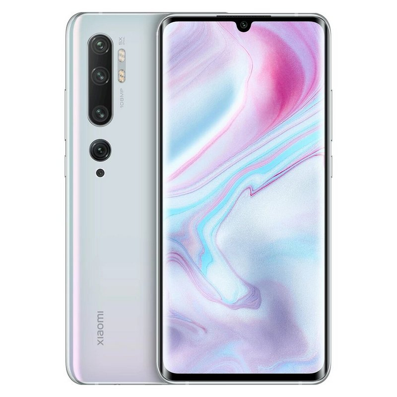 Phone Xiaomi My Note 10 Pro, White Color Icy Dual Sim, 256 GB ROM, 8 GB RAM, Curved Screen AMOLED 6,