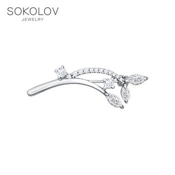Brooch SOKOLOV with cubic silver fashion jewelry 925 women's male
