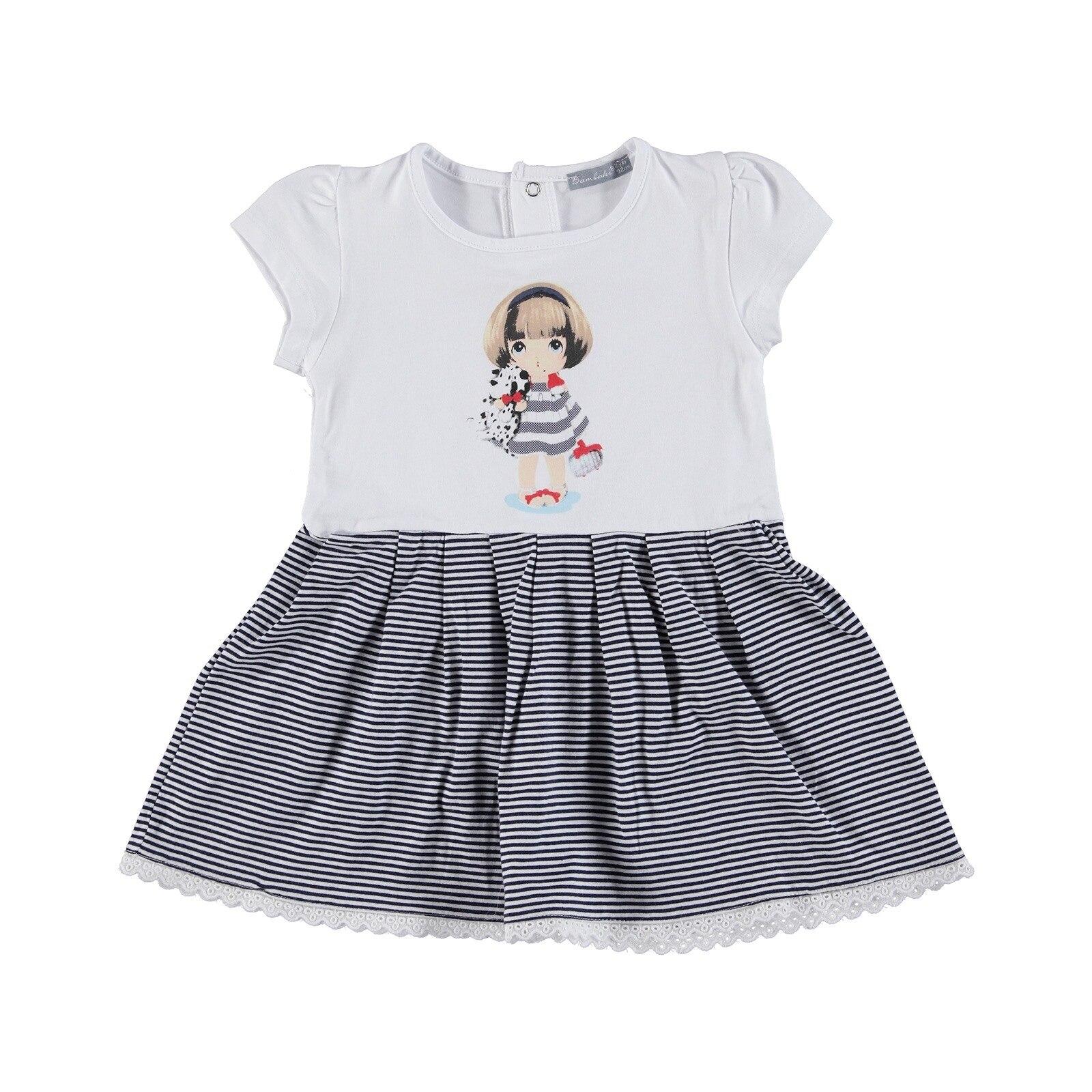 Ebebek Bambaki Summer Striped Printed Baby Girl Dress