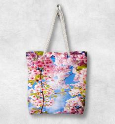 Else ветви деревьев на розовых цветах Цветочные Новые модные белые веревочные ручки Холщовая Сумка Хлопок Холст на молнии сумка через плечо