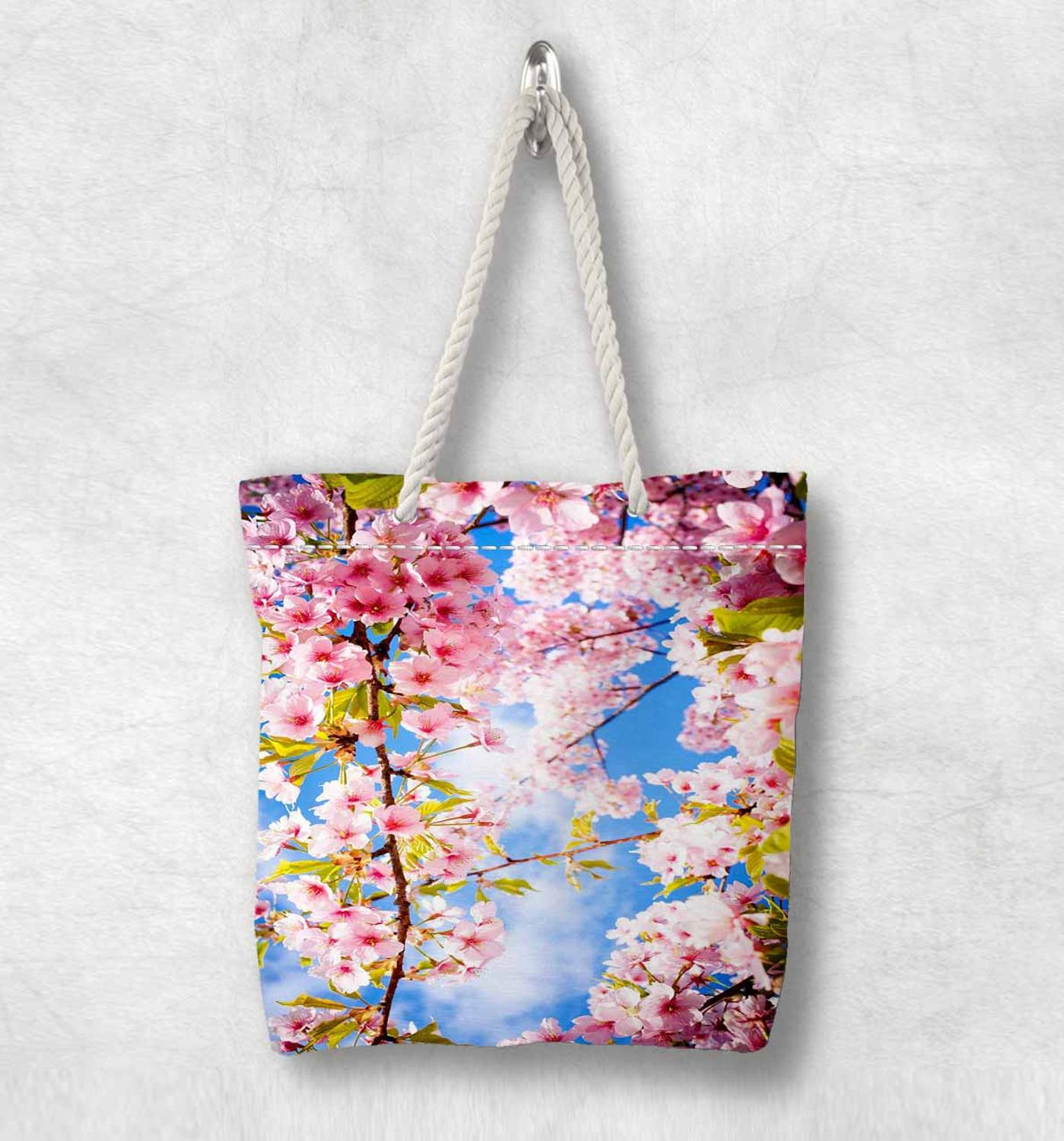 Else Tree Branches On Pink Flowers Floral New Fashion White Rope Handle Canvas Bag Cotton Canvas Zippered Tote Bag Shoulder Bag