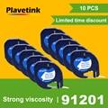 10 шт. для DYMO 91201 LT ленты для этикеток 12 мм * 4 м черные на белом пластиковом этикетке ленты  совместимые для DYMO Letra принтер для этикеток