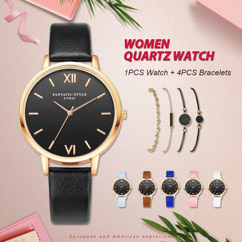5PCS Women Watch & Bracelets Set Montre Femme Fashion Dress Clock Ladies Analog Quartz WristWatch Reloj Mujer Watches серьги