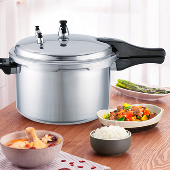 Silver Kitchen Pressure Cooker Aluminum Pressure Canner Cooking Pot Vegetables Soups Pot Home Household Cookware Tool 24cm 7L