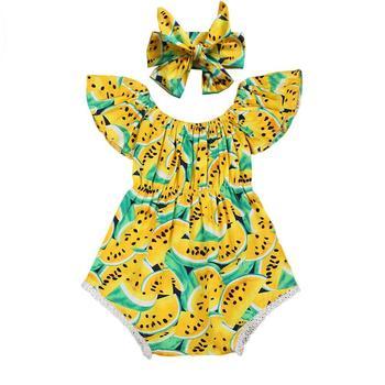 Pudcoco Summer Sleeve O-Neck Pullover Hot Newborn Baby Girls Watermelon Romper Jumpsuit Headband Sunsuit Clothes 6-24M