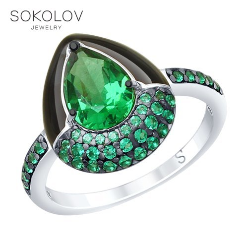 Ring. Sterling Silver With Enamel And Green ситаллом And Cubic Zirkonia Fashion Jewelry 925 Women's Male