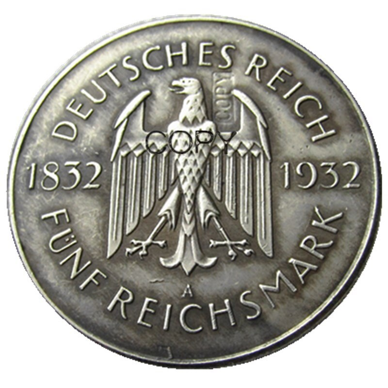 JERMAN Satu set 1932-A-D-E-F-G-J (6pcs) 5 Reichsmark Perak Disepuh - Dekorasi rumah - Foto 2