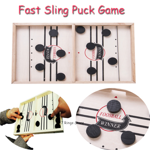 Fast Sling Puck Game Winner Board Games Toys Party Parent-Child Family Interactive Fun Toy Wood Chessboard Chess Games S/L Size(China)