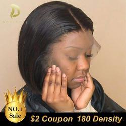 Короткие Синтетические волосы на кружеве парики из натуральных волос на кружевной парик для черных Для женщин бразильские прямые волосы