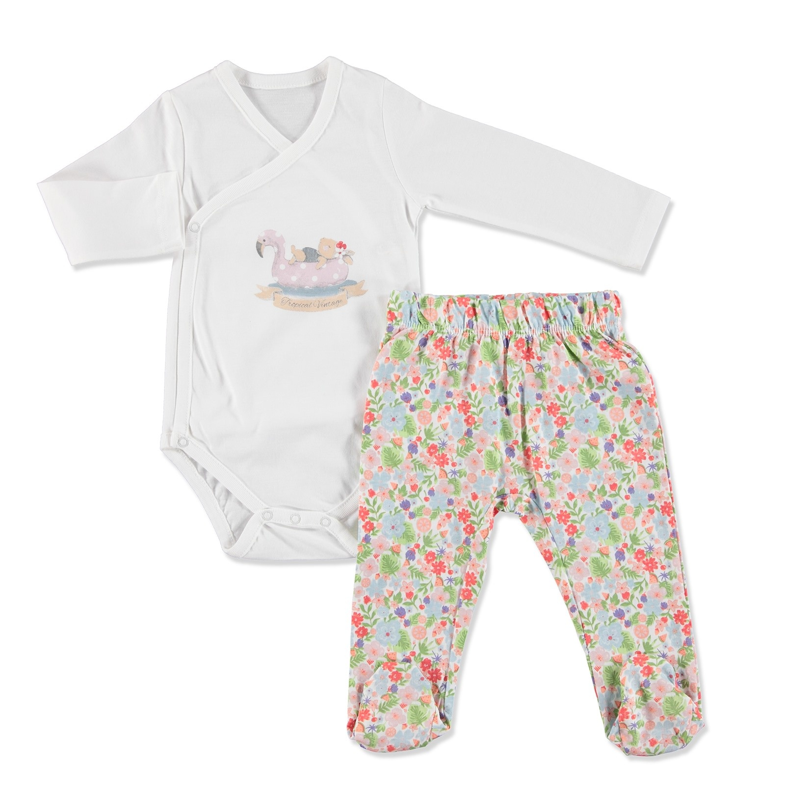 Ebebek Newborn Fashion Club Tropical Summer Baby Girl Bodysuit Pants Set