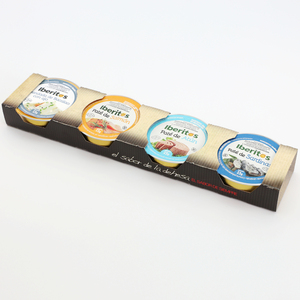 IBERITOS-упаковка 4x23g-ассорти рыбы-атун, лосось, сардины, треска с чесноком