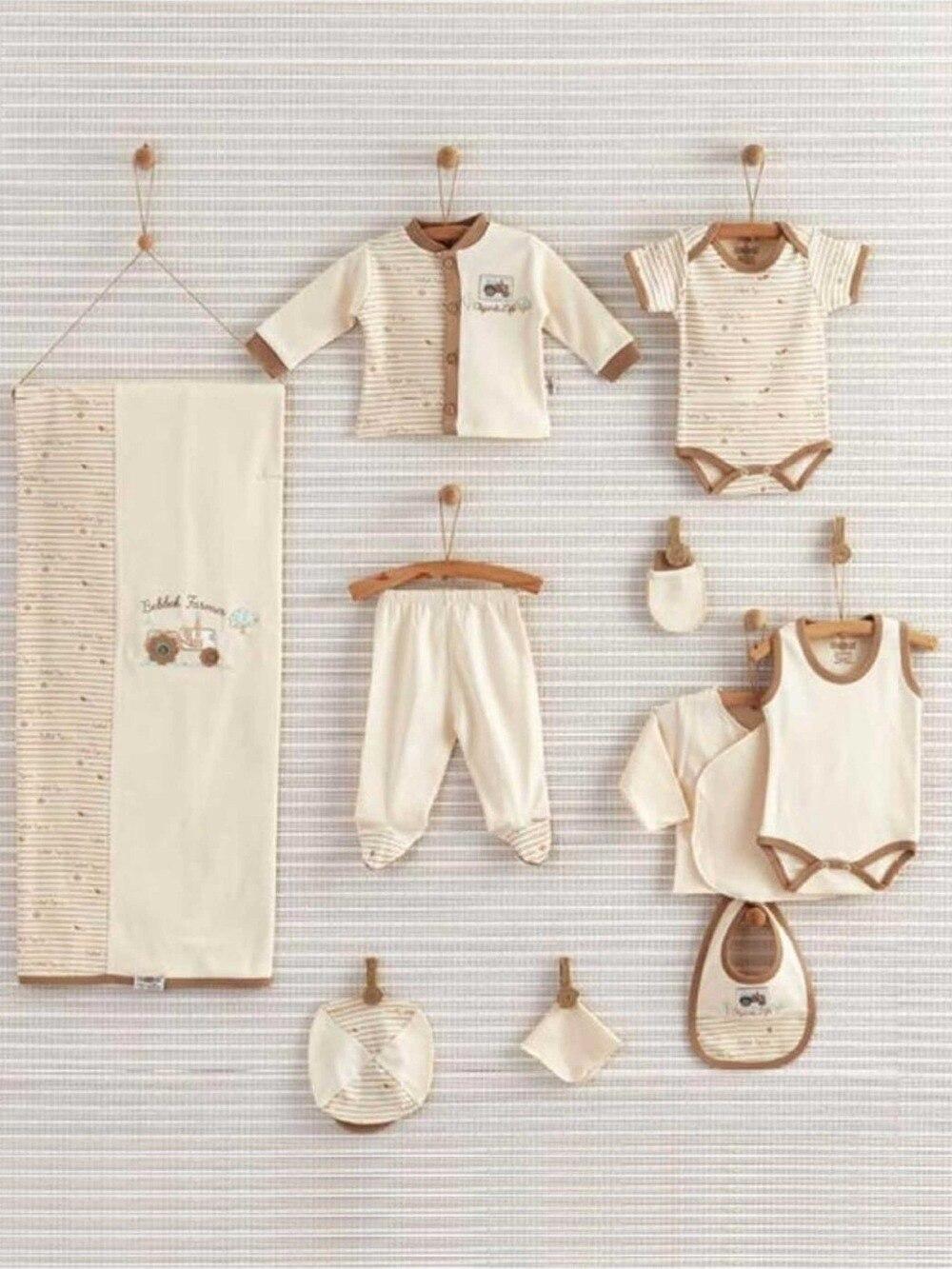 082-19050-028 Krem Yenidoğan Organik Erkek Bebek 10 lu Hastane Çıkışı (1)