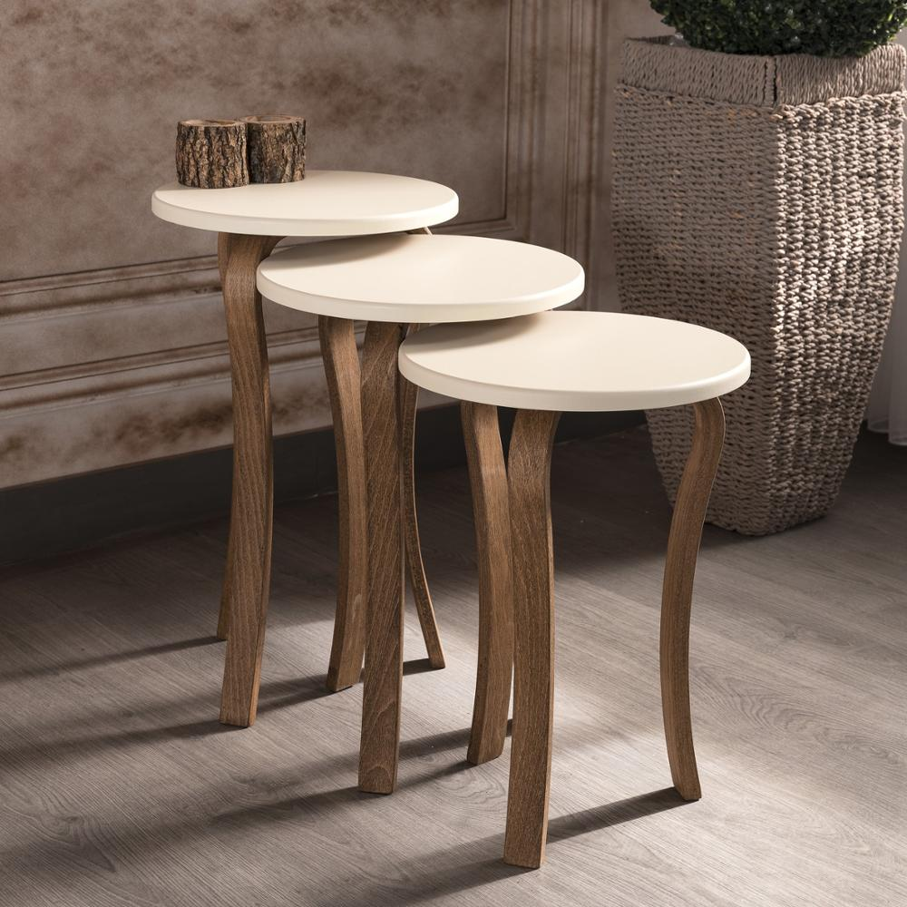 MADE IN TURKEY 3 Pieces Coffee Tables Mini Modern Beige Practical Tea Tables Living Room Zigon Wood Home Accessories