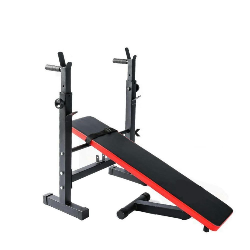 Banc de Musculation Pliable Réglable avec Support de Barres pour Haltère et Station à Dips 1