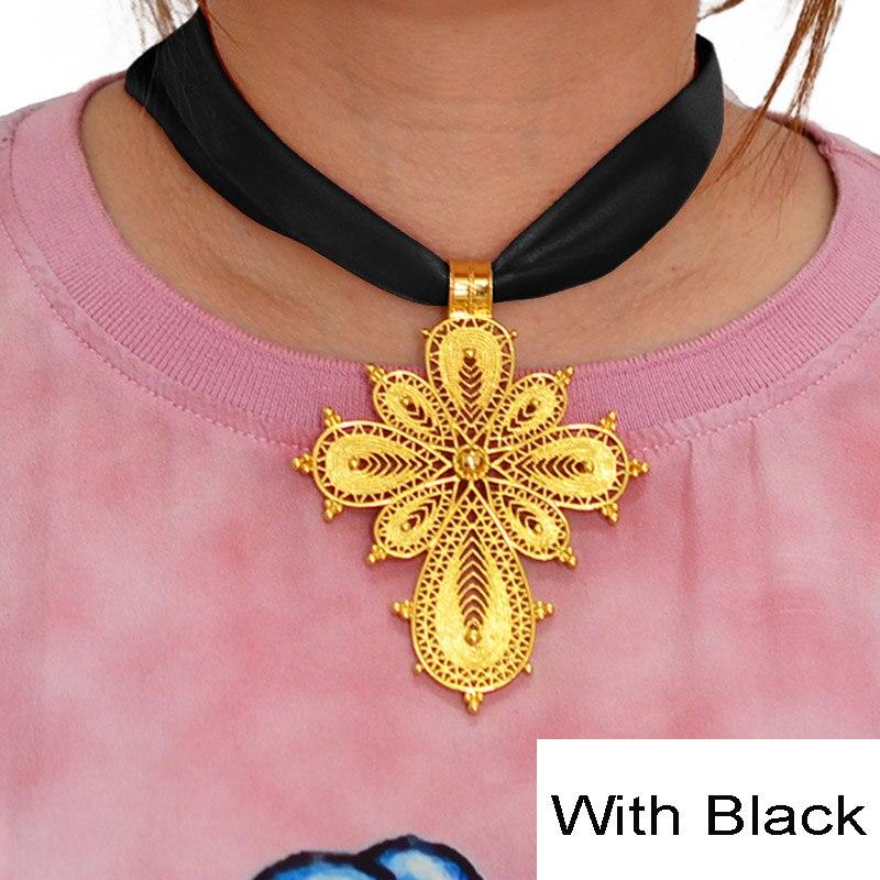 Anniyo Ethiopian Cross Pendant DIY Rope Chain for Women Girls,Gold Color Eritrea Jewelry African Crosses #217006