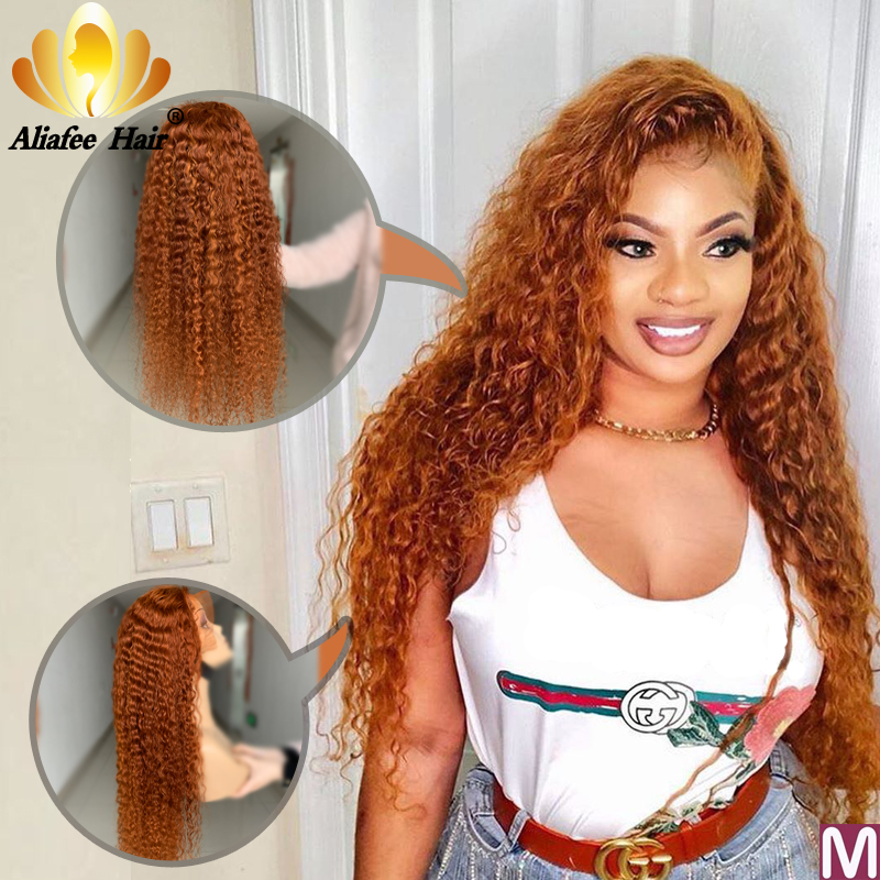 Aliafee Color Orange Deep Wave Wig Malaysia Remy Hair 13x6 Lace Front Human Hair Wigs 150% Pre Plucked With Baby Hair For Women