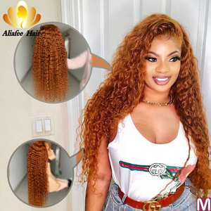 Aliafee Color Orange Deep Wave Wig Malaysia Remy Hair 13x6 Lace Front Human Hair Wigs 150% Pre Plucked With Baby Hair For Women(China)