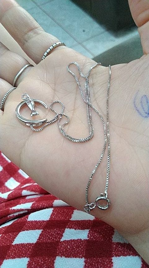 Collier lune chat ( Argent ) photo review
