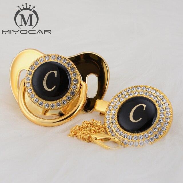 MIYOCAR Oro argento nome Iniziali lettera C bella bling ciuccio e ciuccio clip di set BPA libero dummy bling design unico LC