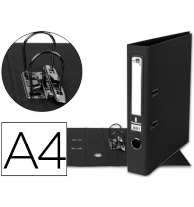 LEVER ARCH FILE LEADERPAPER A4 DOCUMENTS PVC SHEATHED WITH RADO LOMO 52MM BLACK COMPRESSOR METAL