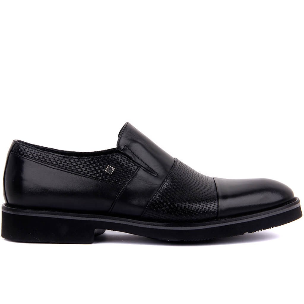 Fosco-Black Genuine Leather Shoes Men's Casual Shoes Black