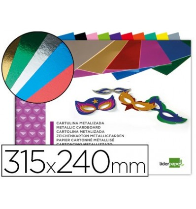 NOTEPAD CRAFTWORK LEADERPAPER CARDBOARD METALLIC 240X315MM 10 SHEETS ASSORTED COLORS 20 Pcs