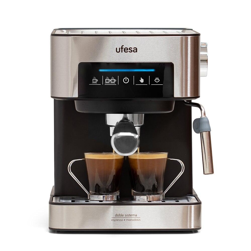 Ufesa CE7255 Cafetera Expresso y Capuccino с цифровой панелью, 850 Вт, испаритель, 20 бар, 2 Modos: Caffee Molido o Monodosi