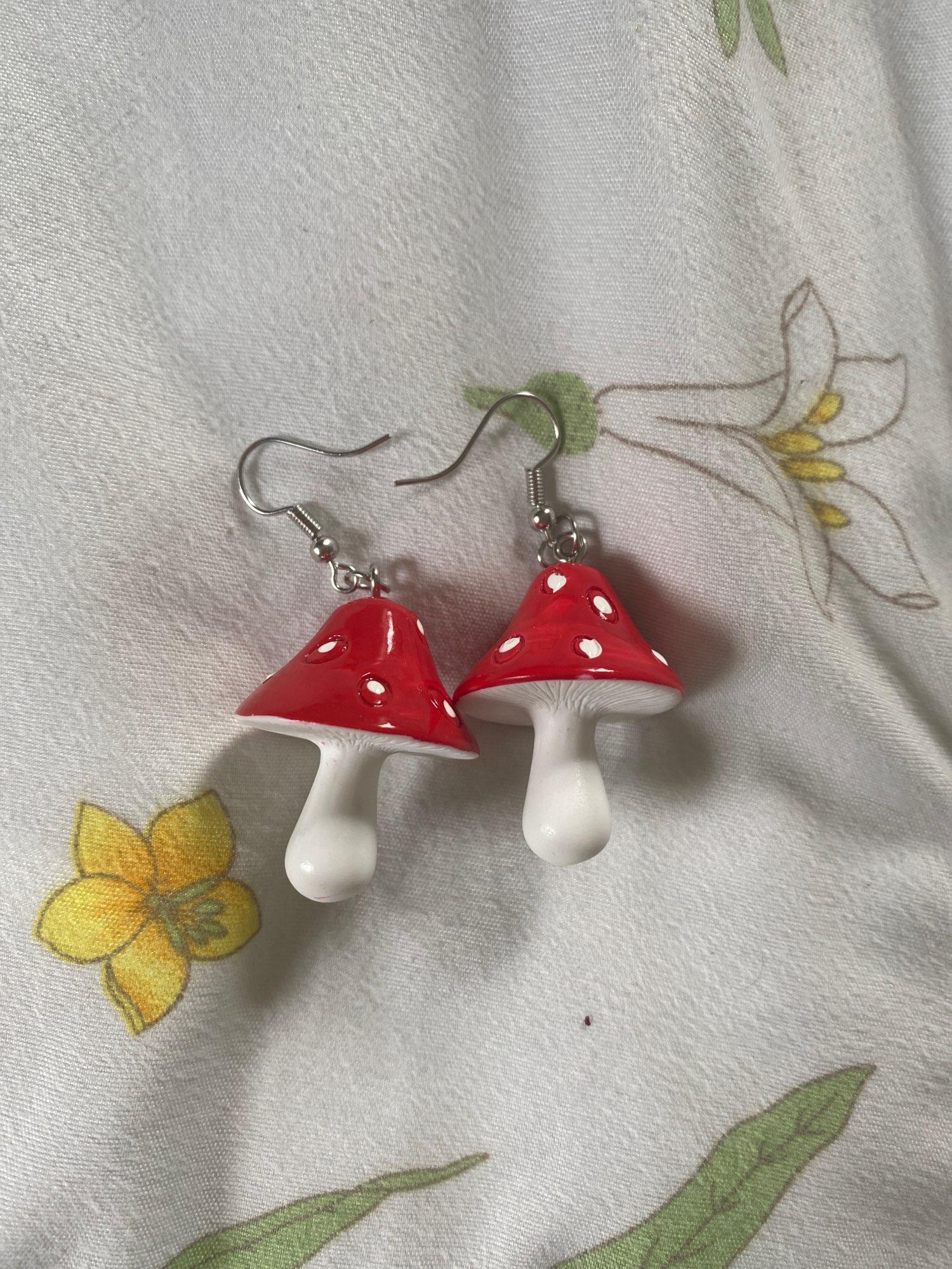 E-girl Y2K Indie Kid Acrylic Mushroom Long Pendant Earrings photo review