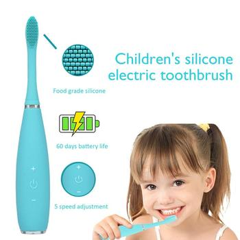 Kids Children Electric Toothbrush Sonic Toothbrush USB Rechargeable Waterproof Portable Travel Toothbrush Heads Dupont Brush