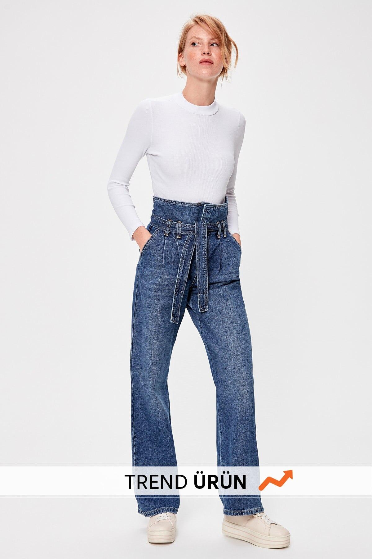 Trendyol Blue Arched Super High Waist Wide Leg Jeans TWOAW20JE0102