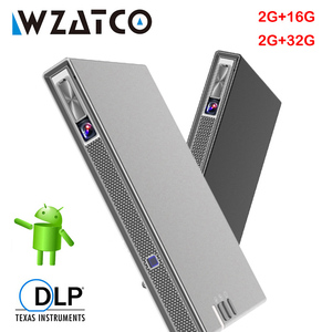 WZATCO T5 DLP 3D Projector 4K 5G WIFI Smart Android for Home Theater Beamer Full HD 1080P Video lAsEr Portable MINI Proyector(China)