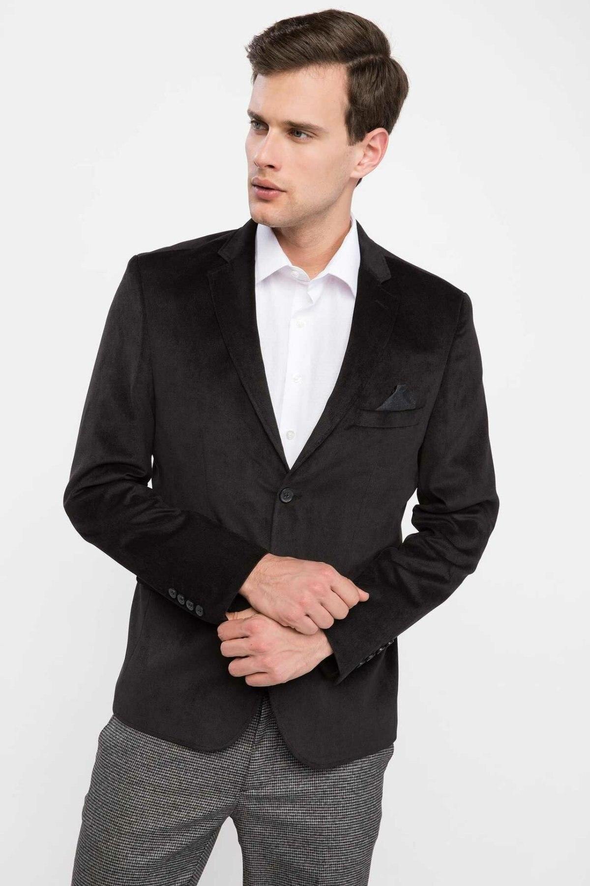 DeFacto Men New Fashion Black Blazer Casual Slim Pocket Suit Jacket Simple Blazers Men Coat Men Spring Autumn - K6356AZ18WN