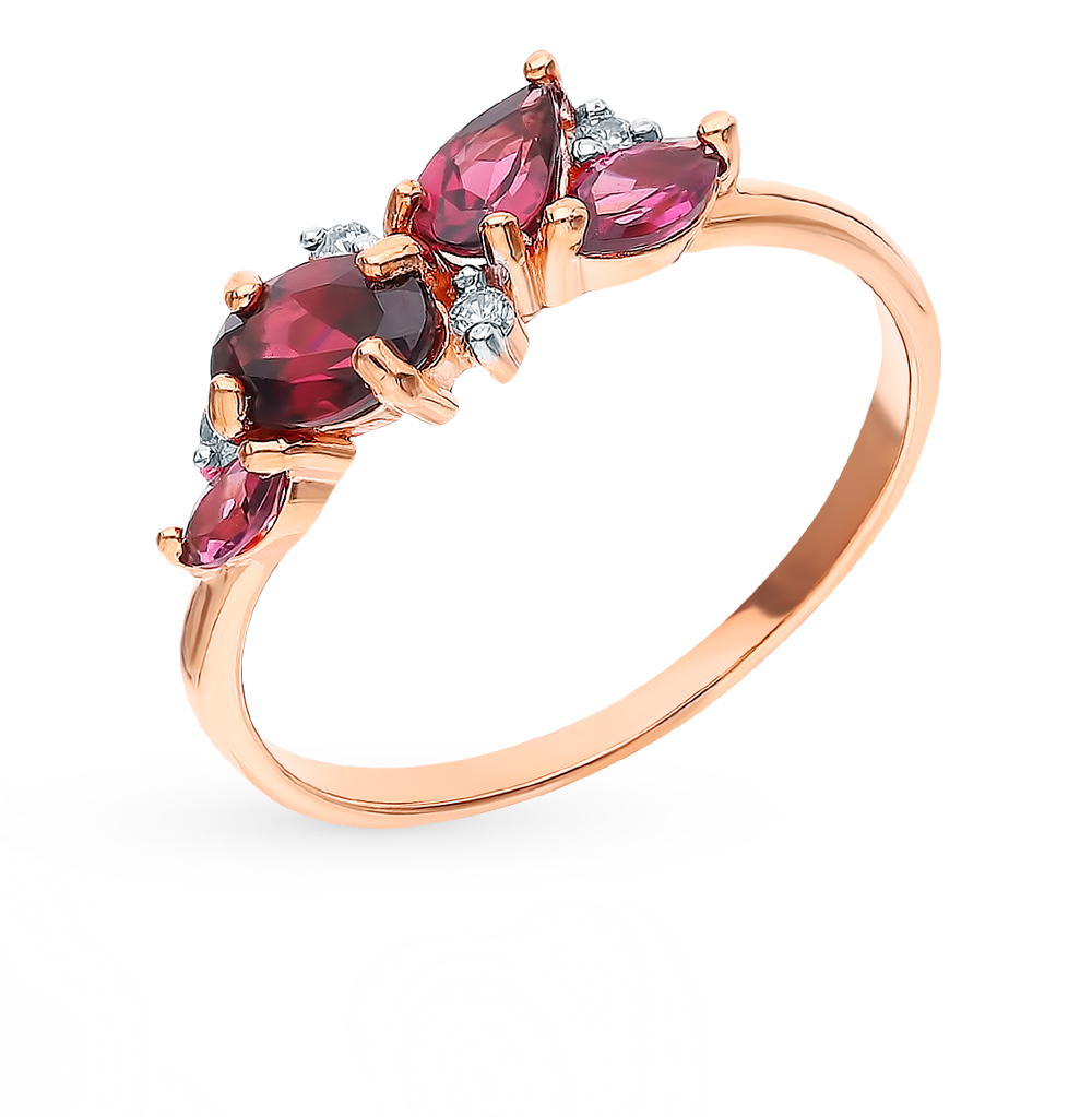 Gold Ring With Rhodolite And Cubic Zirconia Sunlight Sample 585
